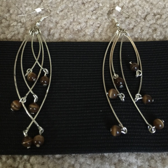 Accessories - Brown/silver stylish earrings