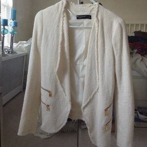 Zara off white knitted blazer
