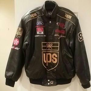 UPS black leather racing jacket