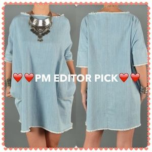 PM EDITOR PICK Cut Neck Line Denim Shift Dress