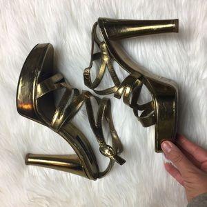 Sergio Rossi Shoes - Bronze metallic gold Sergio Rossi platforms. 90s