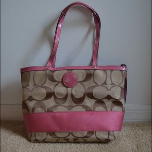 USED Coach Signature Stripe Tote - Watermelon