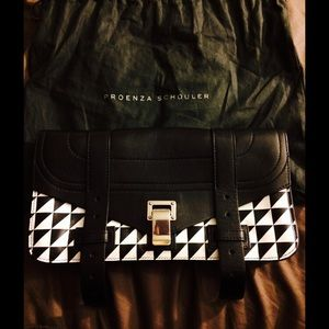 Proenza Schouler Handbags - Proenza Schouler PS1 Chevron Geo Leather Clutch