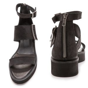 NIB Helmut Lang 3 Strap Leather Sandals EU 38.5