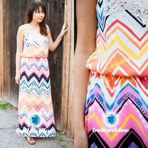 The BRILEY rainbow chevron maxi dress -VIBRANT