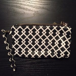 Black & White Double Zipper Clutch