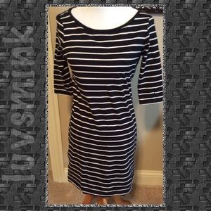 FRENCH CONNECTION BLACK STRIPED DRESS