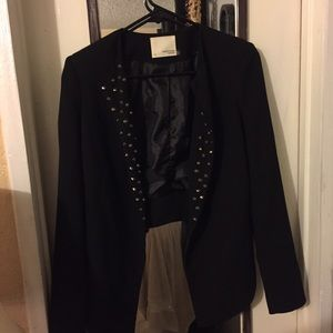 Black loose studded blazer