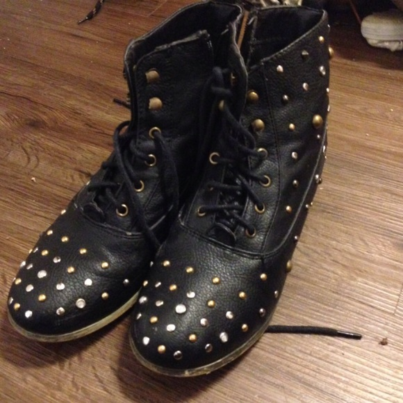 43 vanity shoes black combat boots studded from