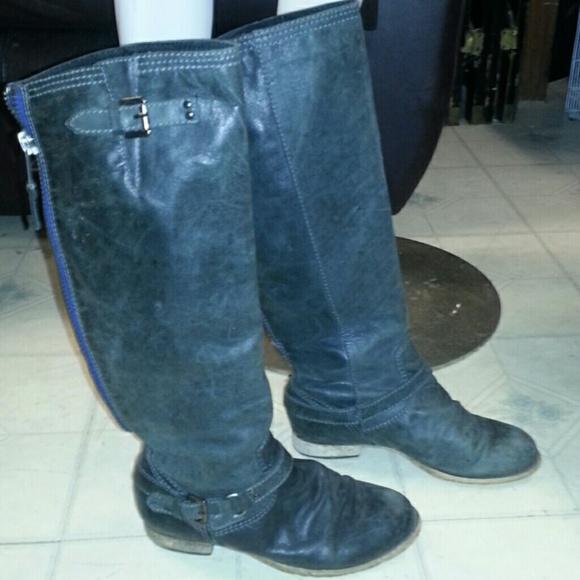 Steve Madden Black Boots With Blue Zipper 52032 | MEGAZIP
