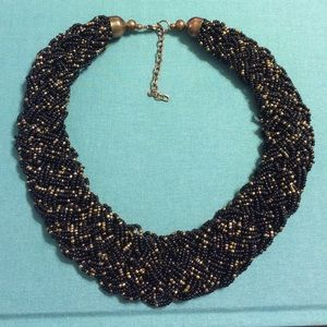 Beaded Black and Gold Statement Necklace
