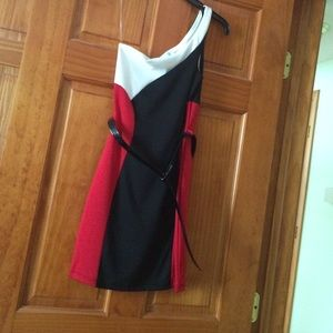 Dresses & Skirts - NWT : Red, Black and White one shoulder dress