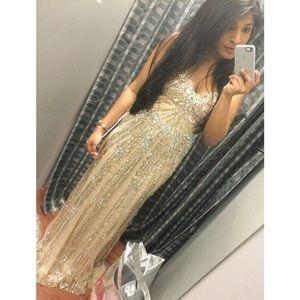 Jovani Champagne Prom Dress