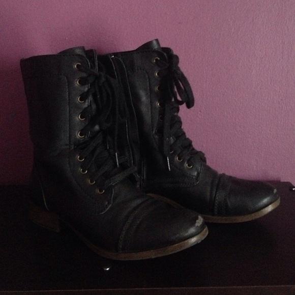 Candies Black Combat Boots
