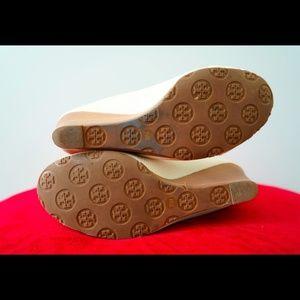 8af2ab7ac020a Tory Burch Shoes - Tory Burch Natalya Logo Mid Wedge Heels White 7.5