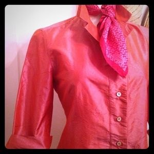 Margaret O'Leary Tops - Margaret O'Leary Dublin Pink Silk Dupioni Shirt