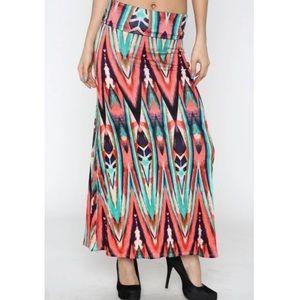NWT Bright foldover maxi skirt S
