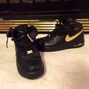 Nike Shoes Custom Gold And Black Air Force Ones Poshmark