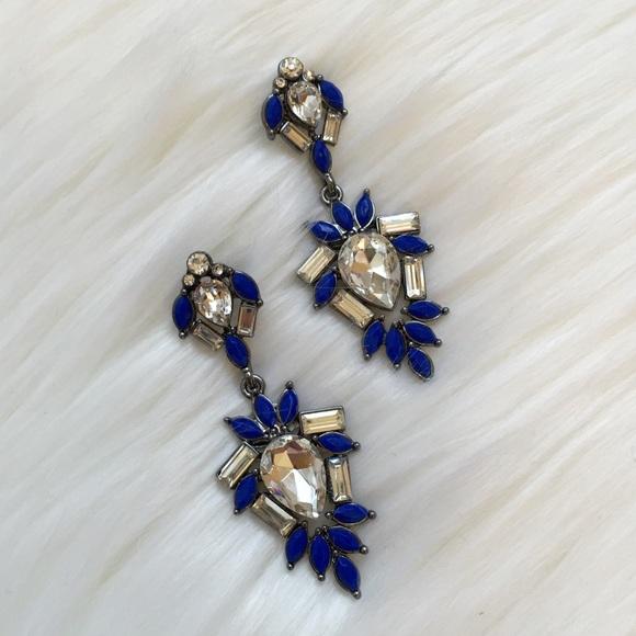 New Amrita Singh Royal Blue Crystal Earrings!