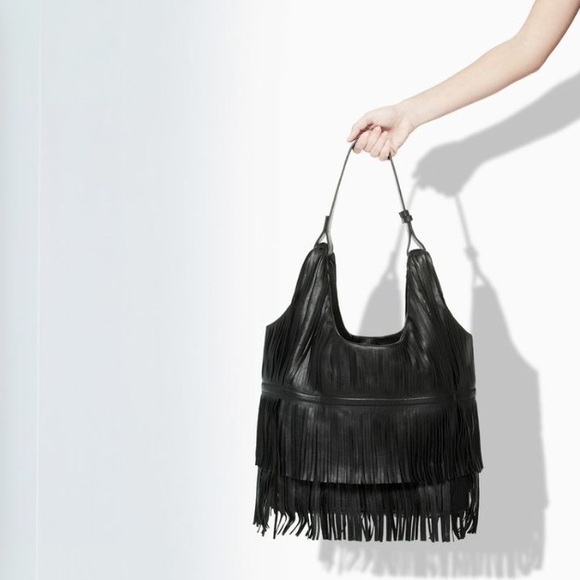 63% off Zara Handbags - ZARA Leather Black Fringe Layered Hobo ...