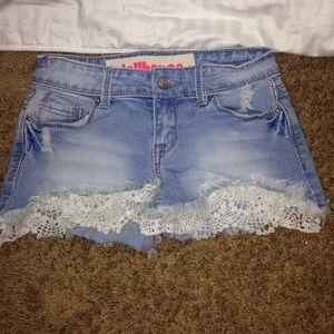 Lace/Denim Short Shorts