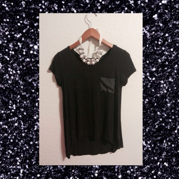 Charming Charlie Tops - Black Cotton Blouse with a Sheer Pocket