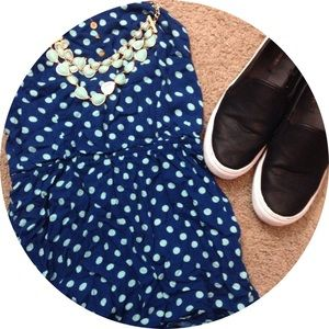 Exhilaration Dresses & Skirts - Navy and mint green polka dot romper