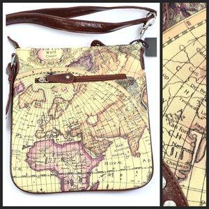 Blossom Handbags - Brown Rhinestone Old World Map Messenger Handbag
