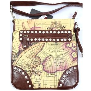 Blossom Handbags - Brown Rhinestone Old World Map Messenger Handbag