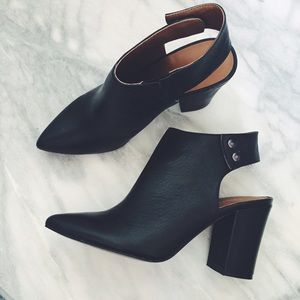 Pointed Toe Leather Booties with Open Heels