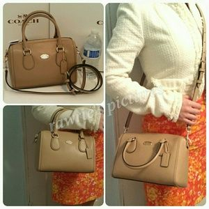 Last One New Coach nude beige leather mini satchel