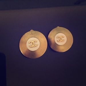Gold Authentic Vintage Chanel Clip on Earrings