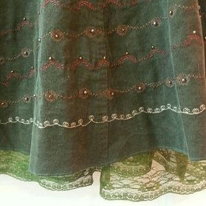 Dresses & Skirts - Deep Olive Green Corduroy Skirt w/ Embroidery
