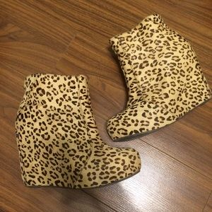 Jeffrey Campbell pixie-fur leopard wedge booties