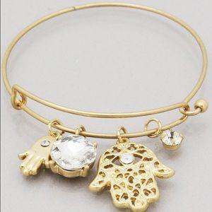 Jewelry - Filigree gold Hamsa Crystal charm bracelet