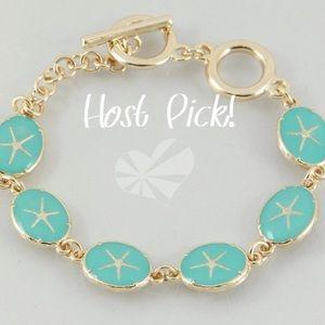Jewelry - Teal-gold epoxy starfish bracelet