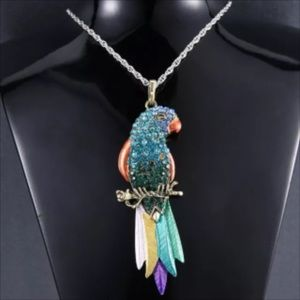 "Colorful Crystal long Bird Necklace 17"" Bird 4"" L"