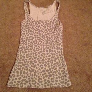 Grey cheetah print tank top