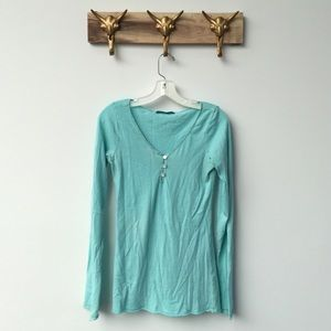 Anthropologie Tops - Anthropologie Button Blue Tee