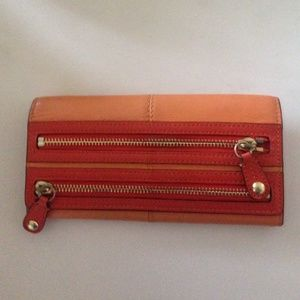 Coach Bonnie leather slim wallet in tangerine