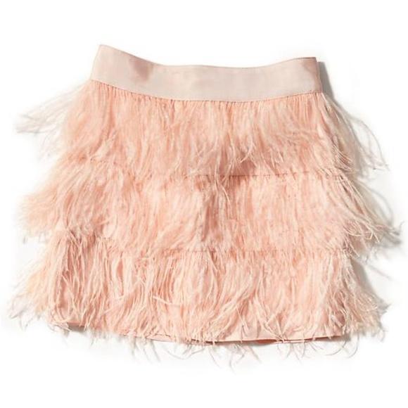 11cc86ba65 Wells Grace Skirts | New Pink Ostrich Feather Mini Skirt Medium ...