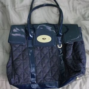 Mulberry x Target quilted blue satchel purse
