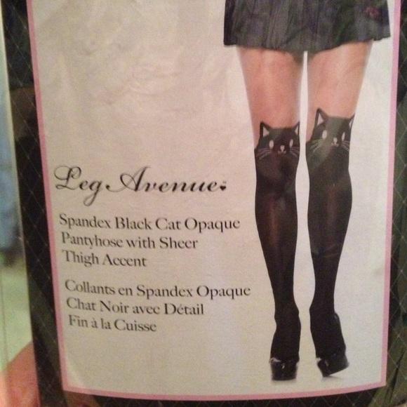 87e36dde6 Black Cat Tights Faux Thigh Highs