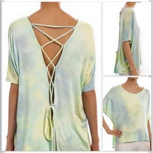 SMALL and MEDIUM Tie dye lace up back top.
