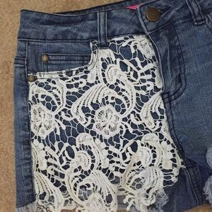 High Waisted Denim Shorts with Crochet Overlay