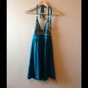 Victoria's Secret, turquoise w/ gold sequins dress