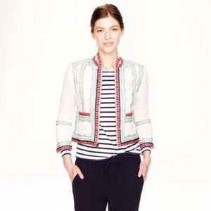 J. Crew Collection Linen & embroidered jacket
