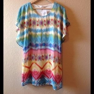 Bluetique, watercolor tribal/aztec print dress