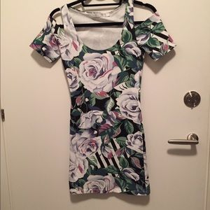 Mink pink floral bodycon dress