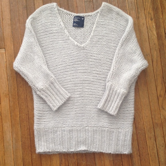 73% off American Eagle Outfitters Sweaters - Large Knit Gray American Eagle S...
